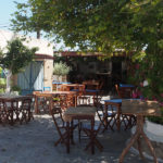 La piazza principale di Lachania a Rodi